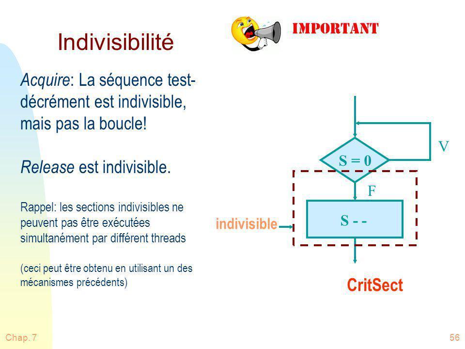 Chap. 756 Indivisibilité Acquire : La séquence test- décrément est indivisible, mais pas la boucle! Release est indivisible. Rappel: les sections indi
