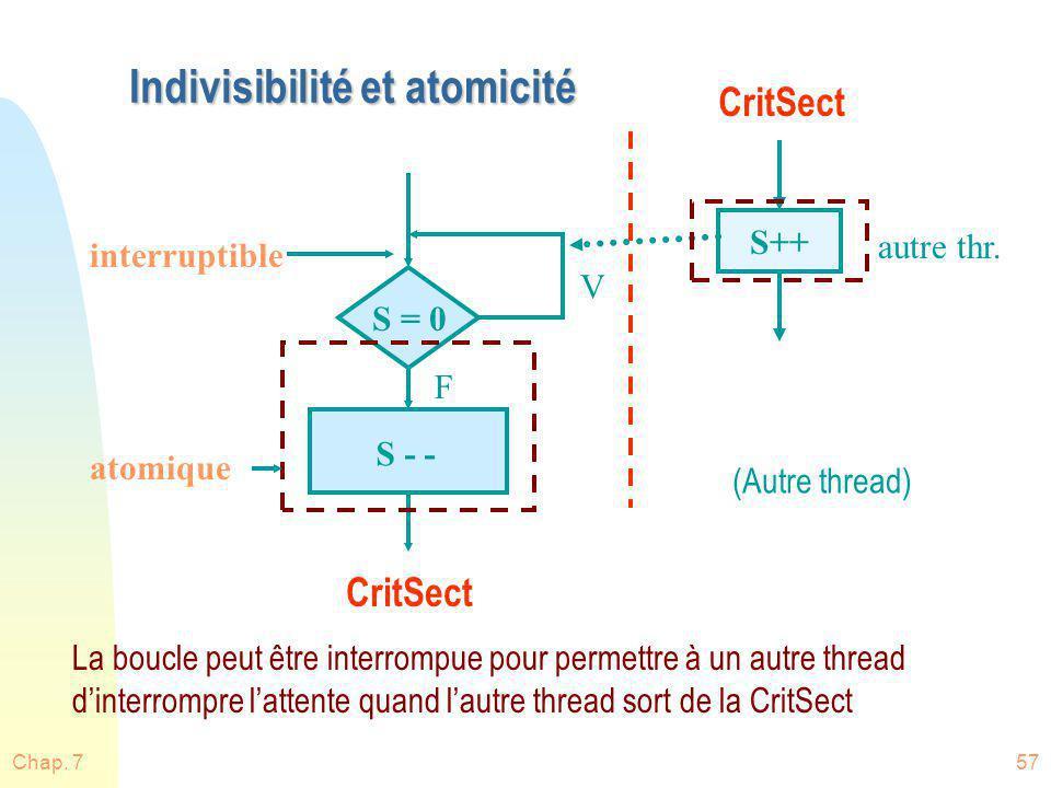 Chap. 757 Indivisibilité et atomicité S = 0 atomique S - - F V S++ La boucle peut être interrompue pour permettre à un autre thread dinterrompre latte