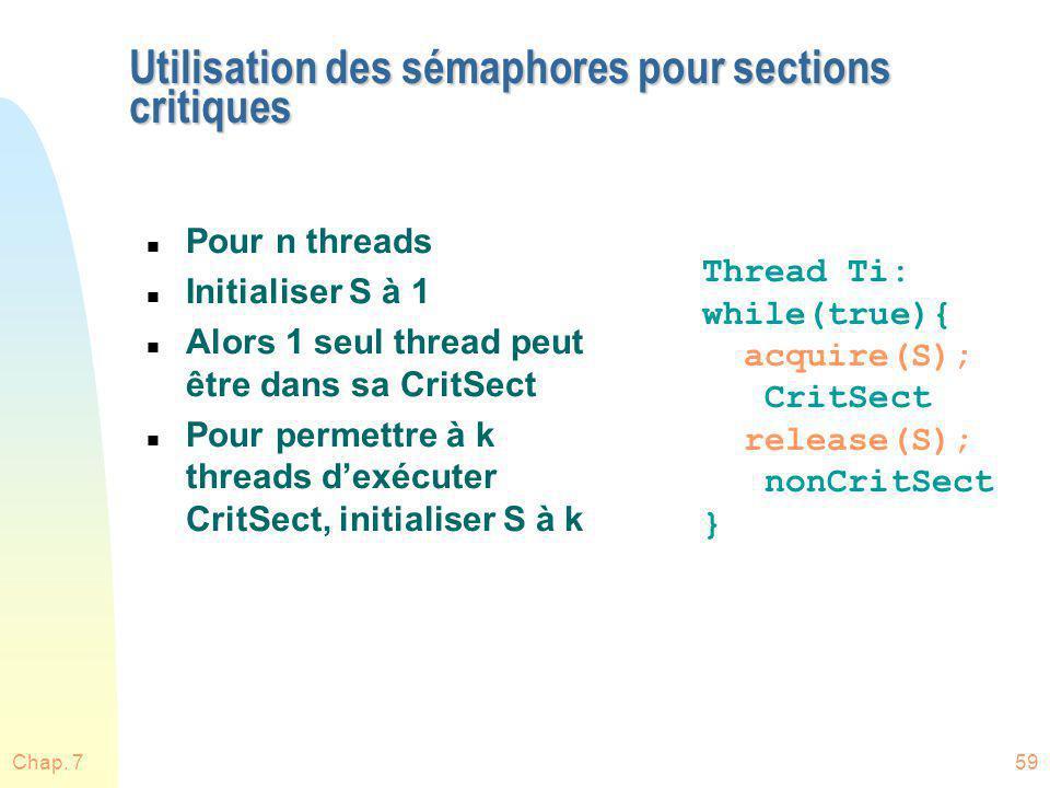 Chap. 759 Utilisation des sémaphores pour sections critiques n Pour n threads n Initialiser S à 1 n Alors 1 seul thread peut être dans sa CritSect n P