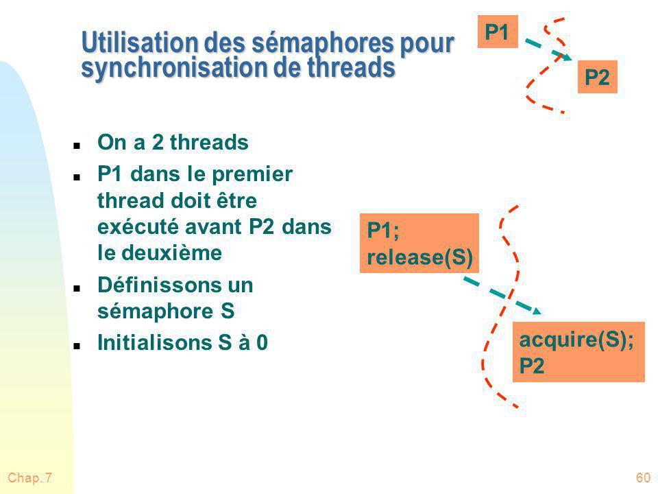 Chap. 760 Utilisation des sémaphores pour synchronisation de threads n On a 2 threads n P1 dans le premier thread doit être exécuté avant P2 dans le d
