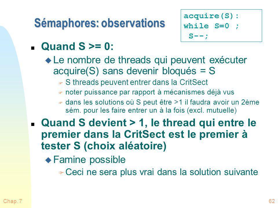Chap. 762 Sémaphores: observations n Quand S >= 0: u Le nombre de threads qui peuvent exécuter acquire(S) sans devenir bloqués = S F S threads peuvent