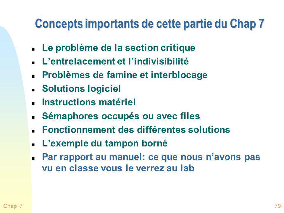 Chap. 779 Concepts importants de cette partie du Chap 7 n Le problème de la section critique n Lentrelacement et lindivisibilité n Problèmes de famine