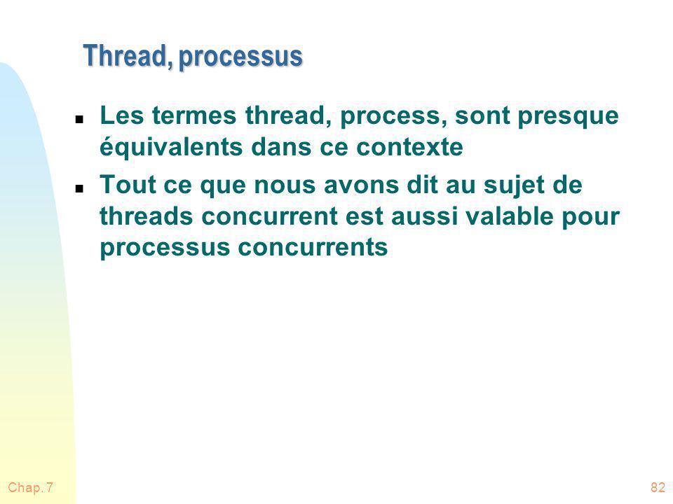 Chap. 782 Thread, processus n Les termes thread, process, sont presque équivalents dans ce contexte n Tout ce que nous avons dit au sujet de threads c