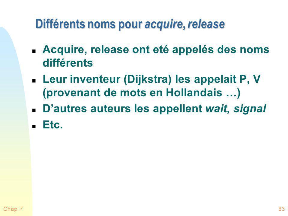 Chap. 783 Différents noms pour acquire, release n Acquire, release ont eté appelés des noms différents n Leur inventeur (Dijkstra) les appelait P, V (