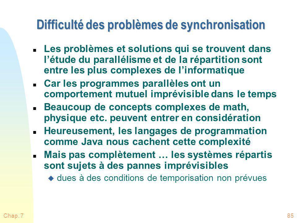 Chap. 785 Difficulté des problèmes de synchronisation n Les problèmes et solutions qui se trouvent dans létude du parallélisme et de la répartition so