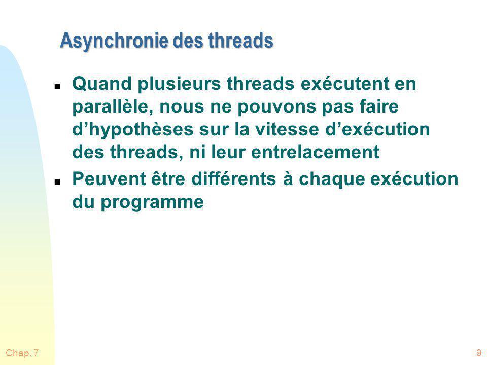 Asynchronie des threads n Quand plusieurs threads exécutent en parallèle, nous ne pouvons pas faire dhypothèses sur la vitesse dexécution des threads,
