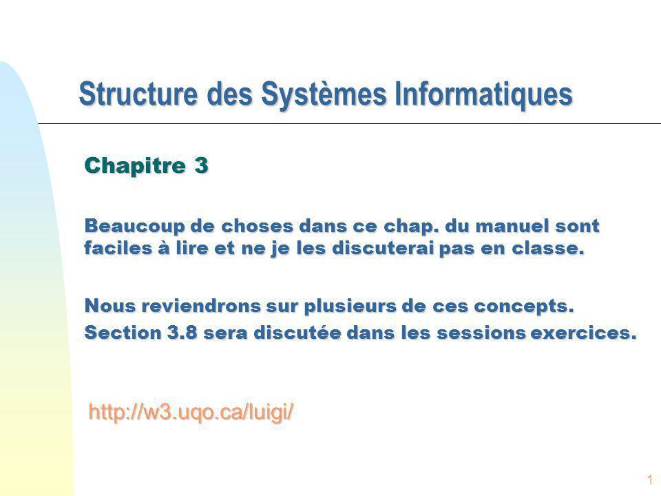 1 Structure des Systèmes Informatiques Chapitre 3 Beaucoup de choses dans ce chap. du manuel sont faciles à lire et ne je les discuterai pas en classe