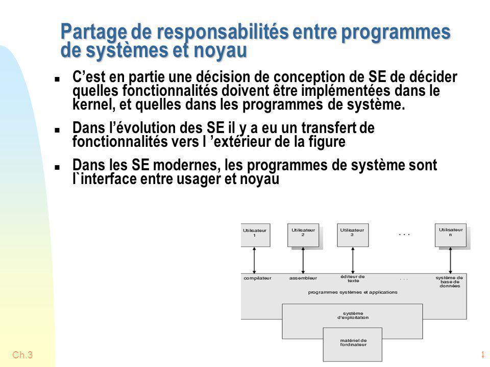 Ch.314 Partage de responsabilités entre programmes de systèmes et noyau n Cest en partie une décision de conception de SE de décider quelles fonctionn
