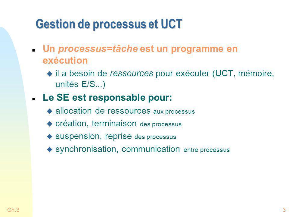 Ch.33 Gestion de processus et UCT n Un processus=tâche est un programme en exécution u il a besoin de ressources pour exécuter (UCT, mémoire, unités E
