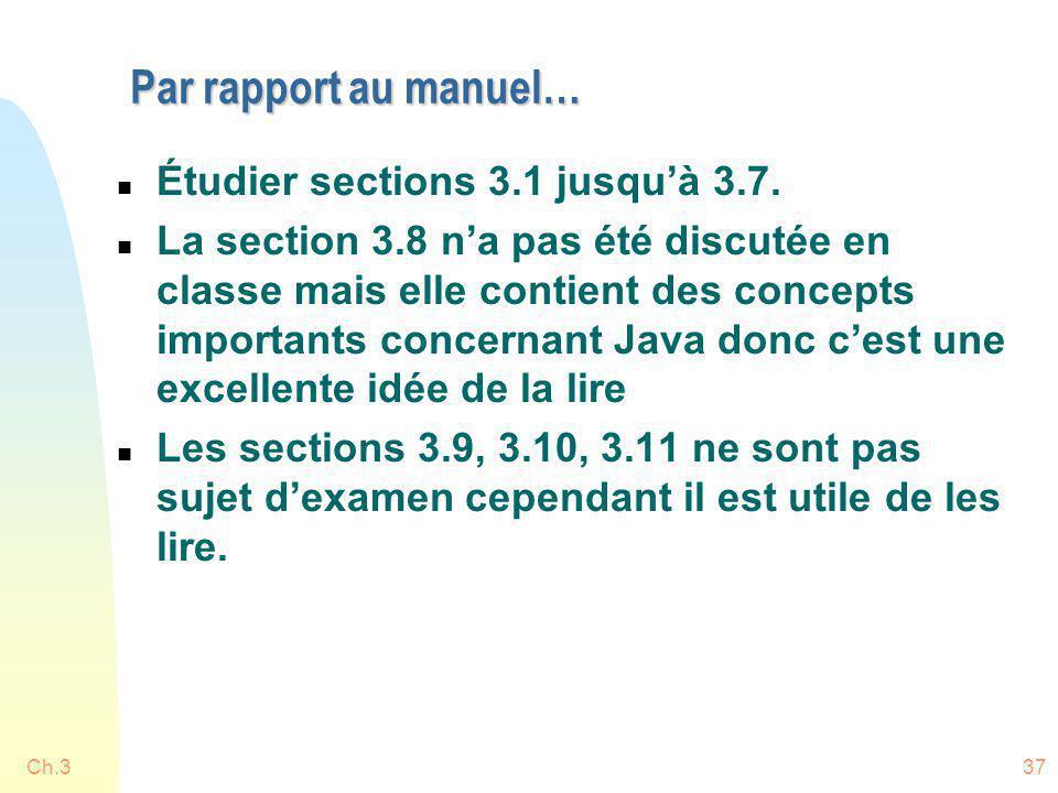 Ch.337 Par rapport au manuel… n Étudier sections 3.1 jusquà 3.7. n La section 3.8 na pas été discutée en classe mais elle contient des concepts import