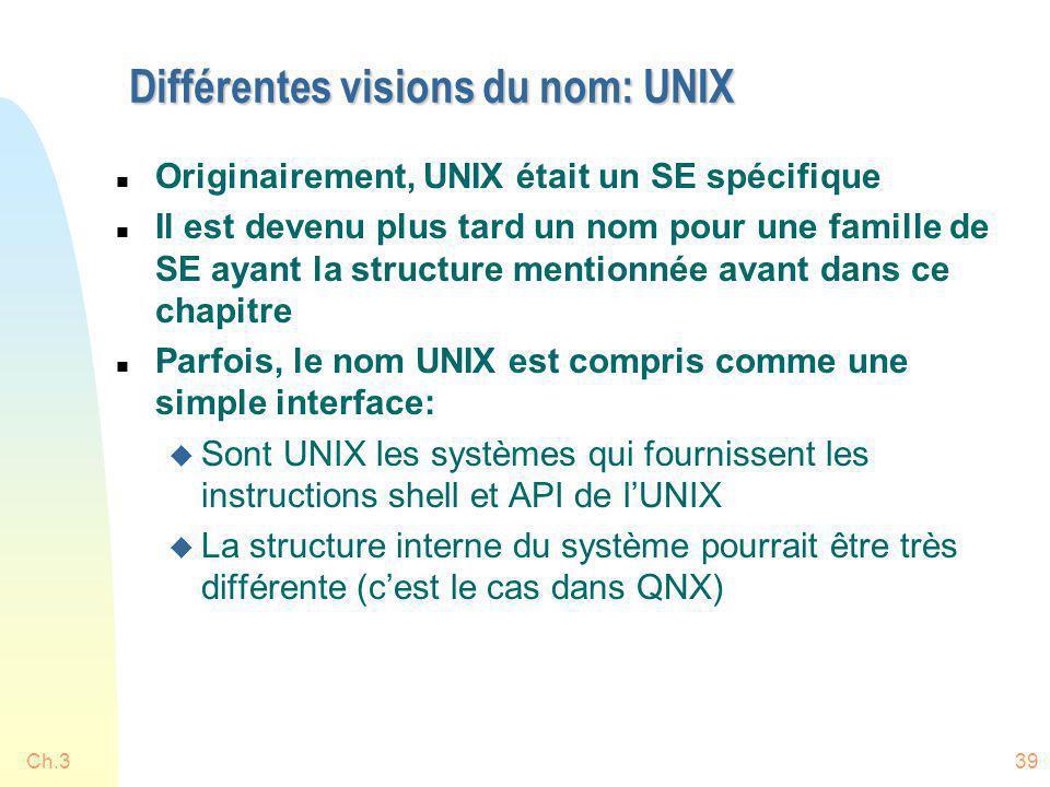 Différentes visions du nom: UNIX n Originairement, UNIX était un SE spécifique n Il est devenu plus tard un nom pour une famille de SE ayant la struct