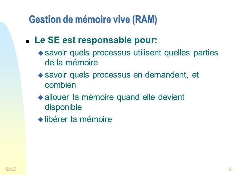 Ch.34 Gestion de mémoire vive (RAM) n Le SE est responsable pour: u savoir quels processus utilisent quelles parties de la mémoire u savoir quels proc