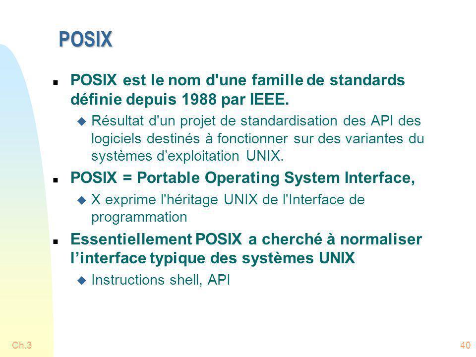 POSIX n POSIX est le nom d'une famille de standards définie depuis 1988 par IEEE. u Résultat d'un projet de standardisation des API des logiciels dest