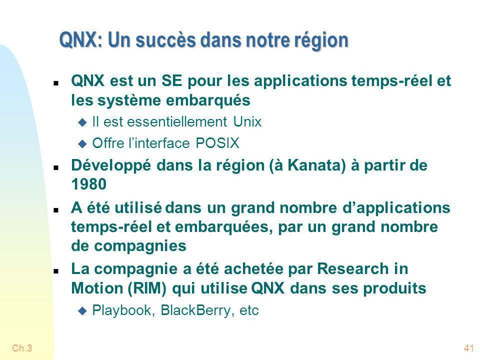 QNX: Un succès dans notre région n QNX est un SE pour les applications temps-réel et les système embarqués u Il est essentiellement Unix u Offre linte