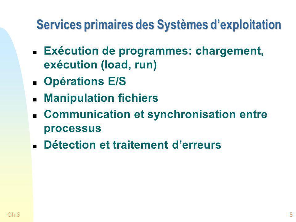 Ch.35 Services primaires des Systèmes dexploitation n Exécution de programmes: chargement, exécution (load, run) n Opérations E/S n Manipulation fichi