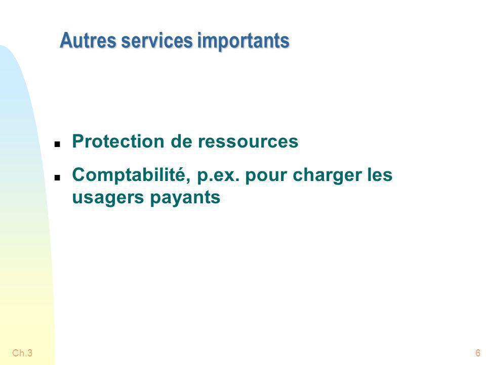 Ch.36 Autres services importants n Protection de ressources n Comptabilité, p.ex. pour charger les usagers payants