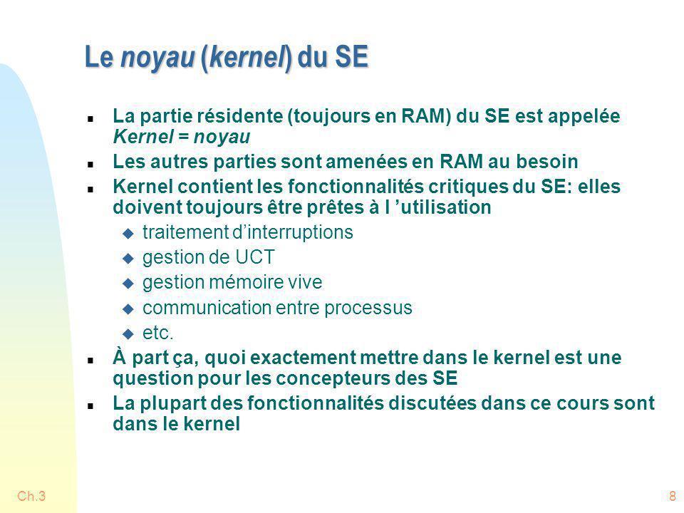 8 Le noyau ( kernel ) du SE n La partie résidente (toujours en RAM) du SE est appelée Kernel = noyau n Les autres parties sont amenées en RAM au besoi