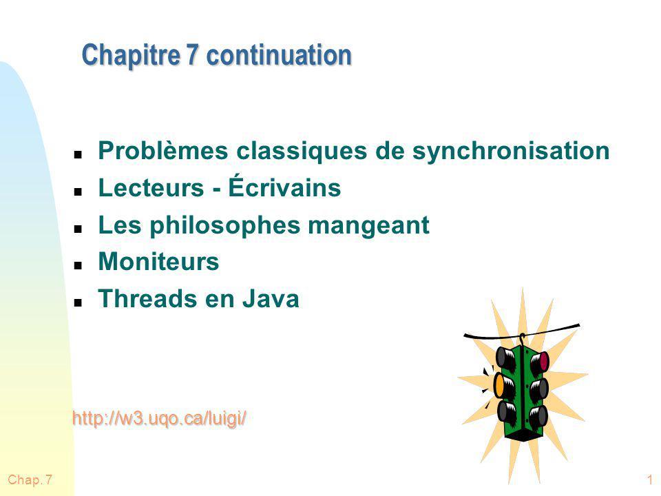 Chap. 72 n Dorénavant: u SC = Critical Section