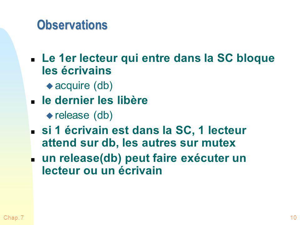 Chap. 710 Observations n Le 1er lecteur qui entre dans la SC bloque les écrivains u acquire (db) n le dernier les libère u release (db) n si 1 écrivai