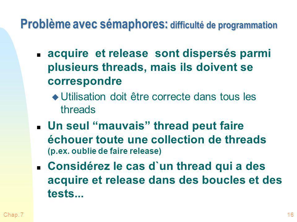 Chap. 716 Problème avec sémaphores: difficulté de programmation n acquire et release sont dispersés parmi plusieurs threads, mais ils doivent se corre