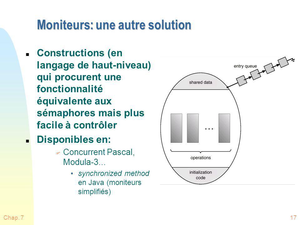 Chap. 717 Moniteurs: une autre solution n Constructions (en langage de haut-niveau) qui procurent une fonctionnalité équivalente aux sémaphores mais p