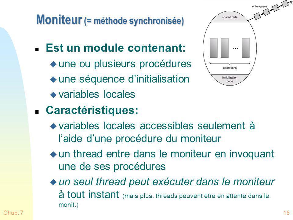 Chap. 718 Moniteur (= méthode synchronisée) n Est un module contenant: u une ou plusieurs procédures u une séquence dinitialisation u variables locale