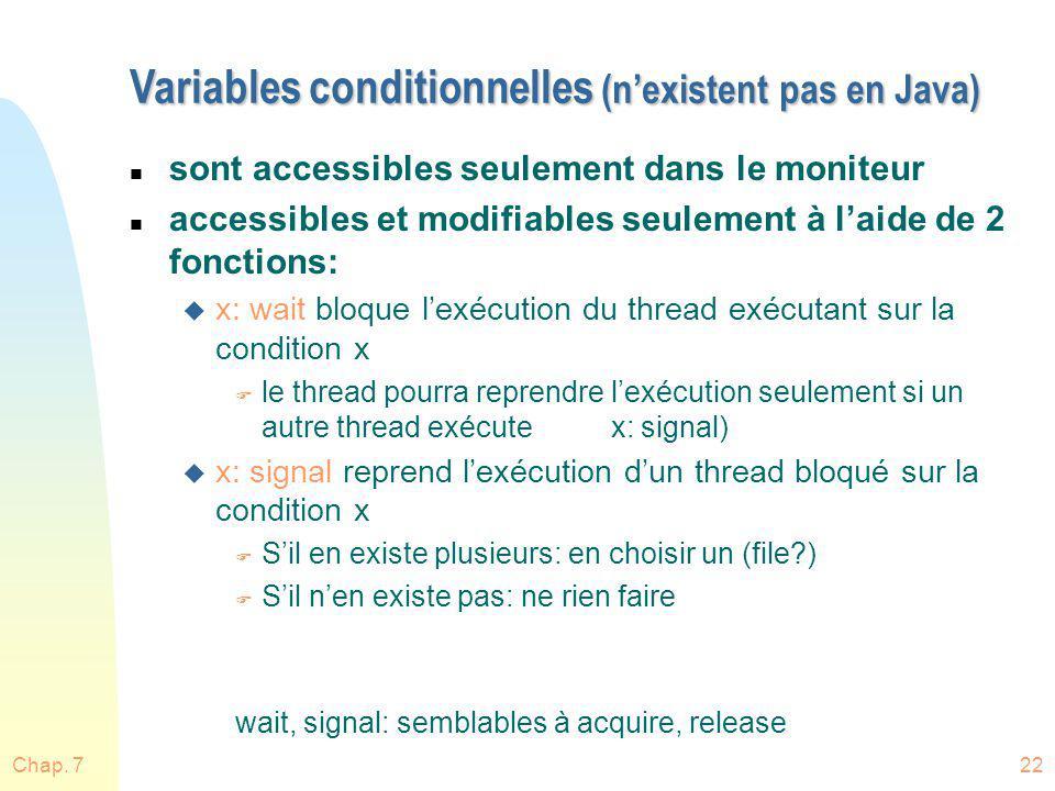 Chap. 722 Variables conditionnelles (nexistent pas en Java) n sont accessibles seulement dans le moniteur n accessibles et modifiables seulement à lai