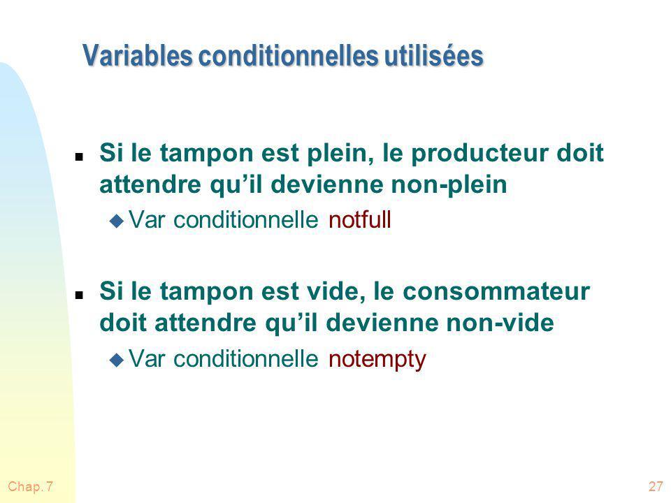 Chap. 727 Variables conditionnelles utilisées n Si le tampon est plein, le producteur doit attendre quil devienne non-plein u Var conditionnelle notfu