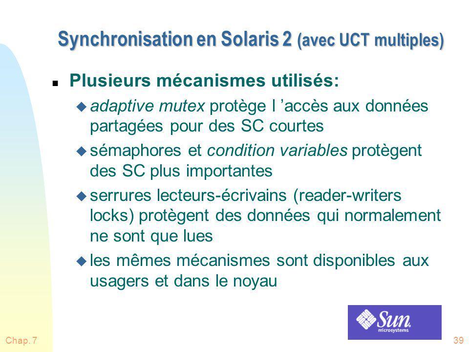 Chap. 739 Synchronisation en Solaris 2 (avec UCT multiples) n Plusieurs mécanismes utilisés: u adaptive mutex protège l accès aux données partagées po