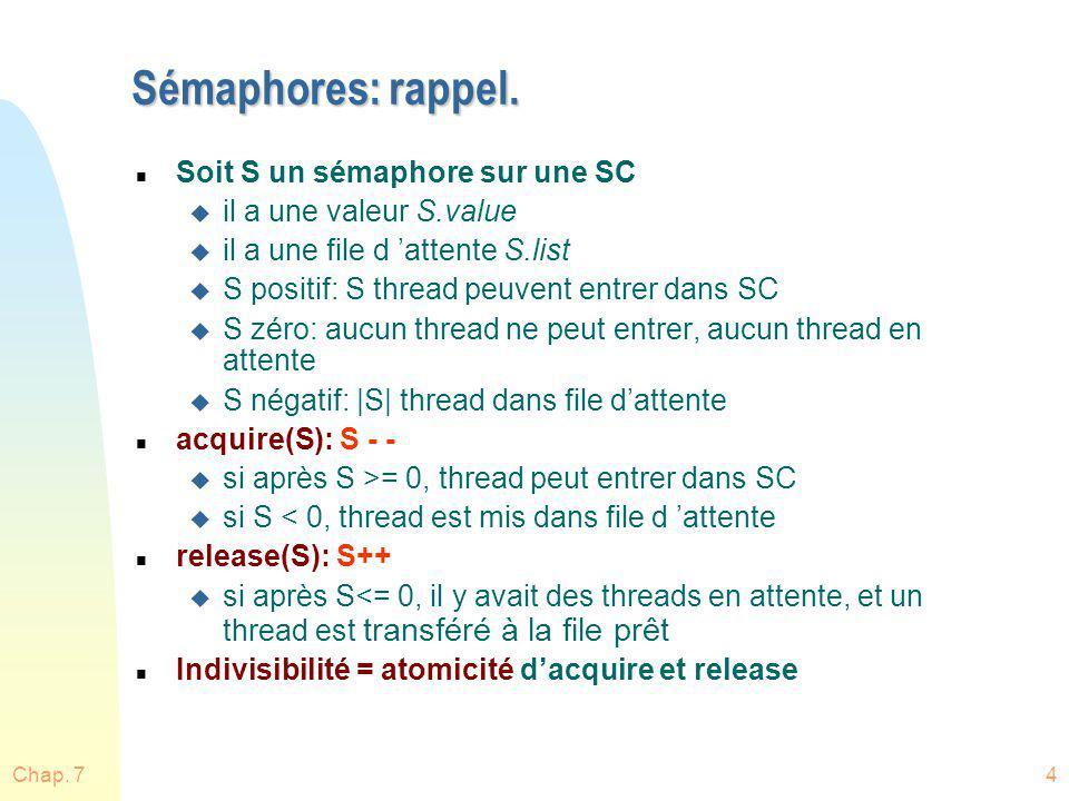 Chap. 74 Sémaphores: rappel. n Soit S un sémaphore sur une SC u il a une valeur S.value u il a une file d attente S.list u S positif: S thread peuvent