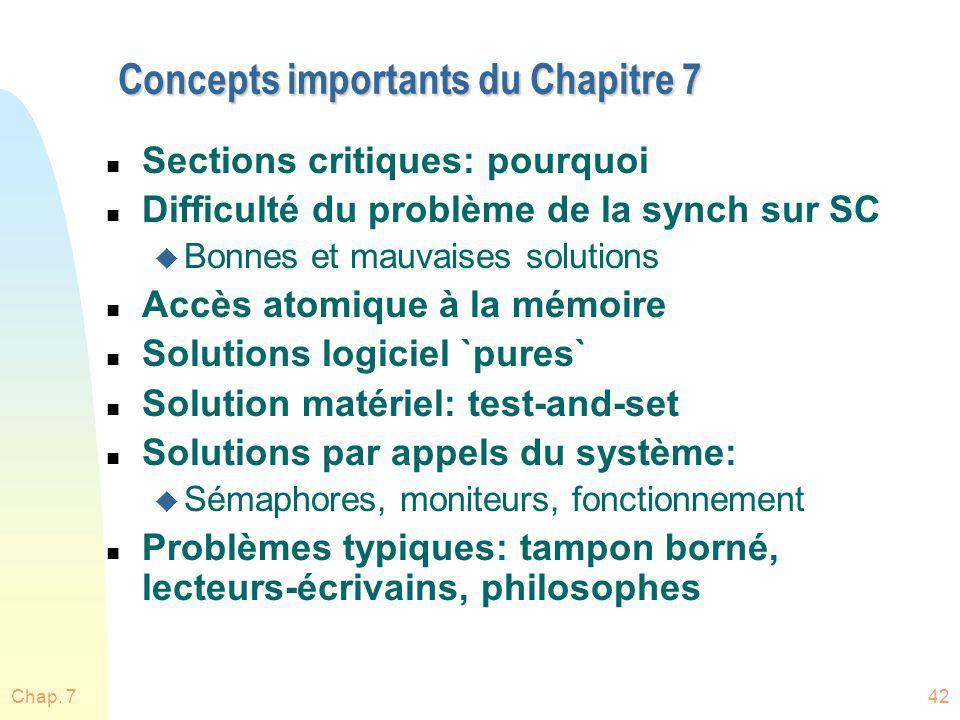 Chap. 742 Concepts importants du Chapitre 7 n Sections critiques: pourquoi n Difficulté du problème de la synch sur SC u Bonnes et mauvaises solutions