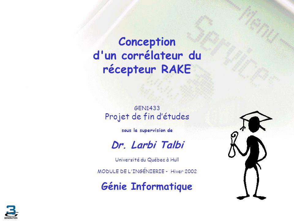 Conclusion Objectifs atteints : Familiarisation avec les techniques daccès multiple Synchroniser en utilisant les concepts de corrélation Conception des composantes du récepteur Rake Objectifs fixés : Conception du récepteur Rake.