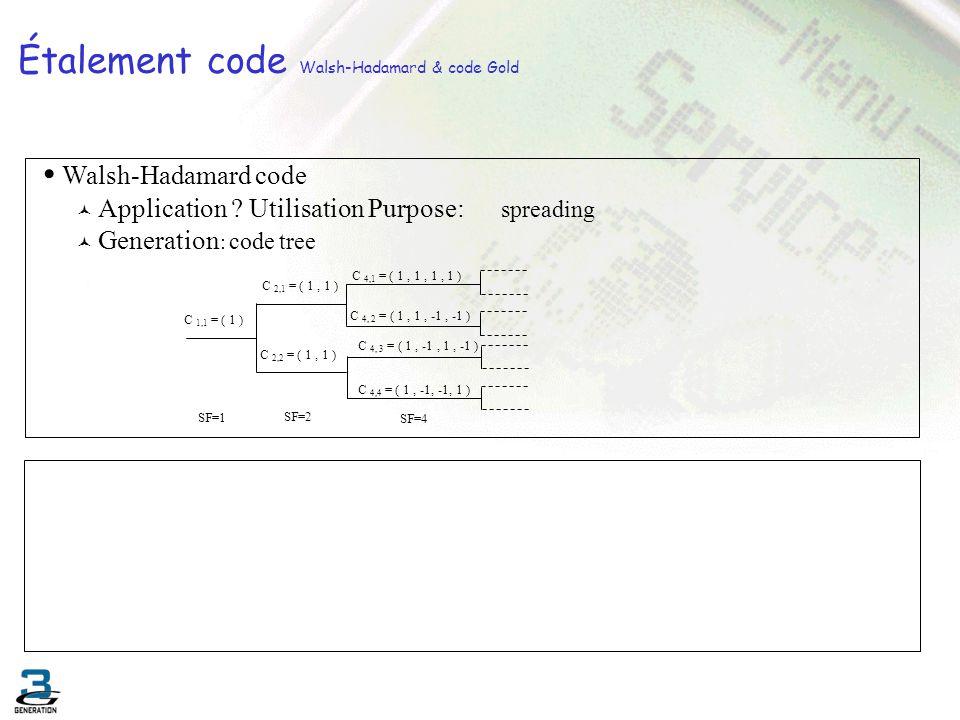 Étalement code Walsh-Hadamard & code Gold C 1,1 = ( 1 ) C 2,2 = ( 1, 1 ) C 2,1 = ( 1, 1 ) C 4, 2 = ( 1, 1, -1, -1 ) C 4,1 = ( 1, 1, 1, 1 ) C 4, 3 = (