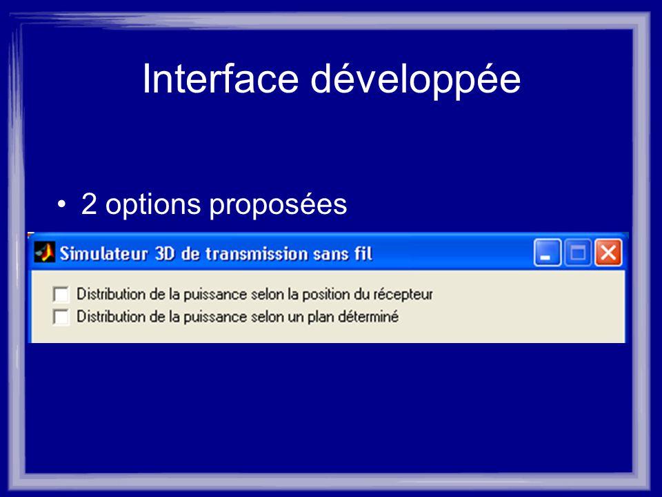 Interface développée 2 options proposées
