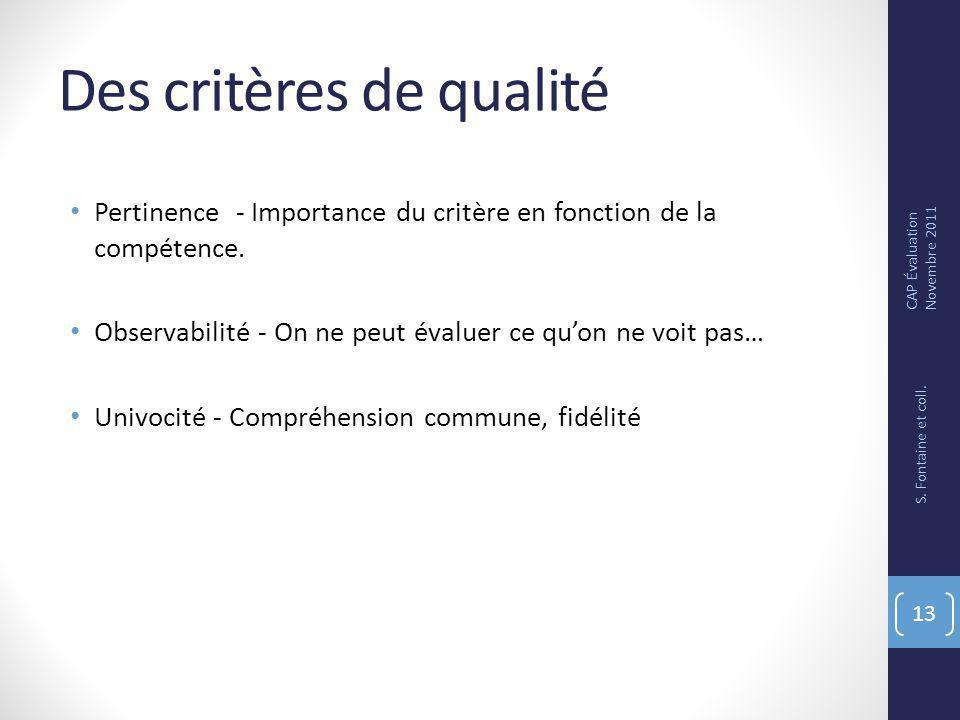 Des critères de qualité Pertinence - Importance du critère en fonction de la compétence.