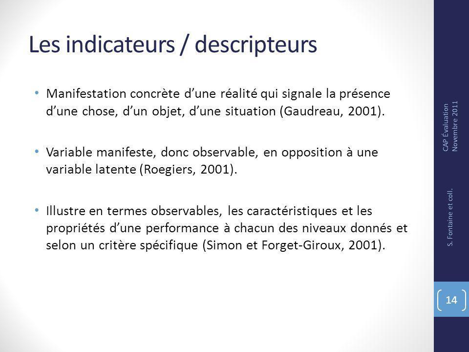 Les indicateurs / descripteurs Manifestation concrète dune réalité qui signale la présence dune chose, dun objet, dune situation (Gaudreau, 2001).