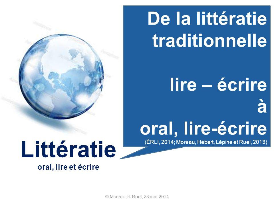 © Moreau et Ruel, 23 mai 2014 Littératie oral, lire et écrire De la littératie traditionnelle lire – écrire à oral, lire-écrire (ÉRLI, 2014; Moreau, H