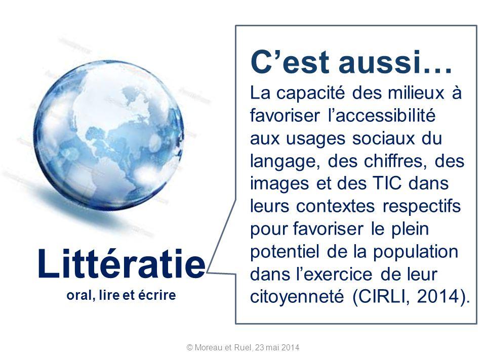 © Moreau et Ruel, 23 mai 2014 Littératie oral, lire et écrire Cest aussi… La capacité des milieux à favoriser laccessibilité aux usages sociaux du lan