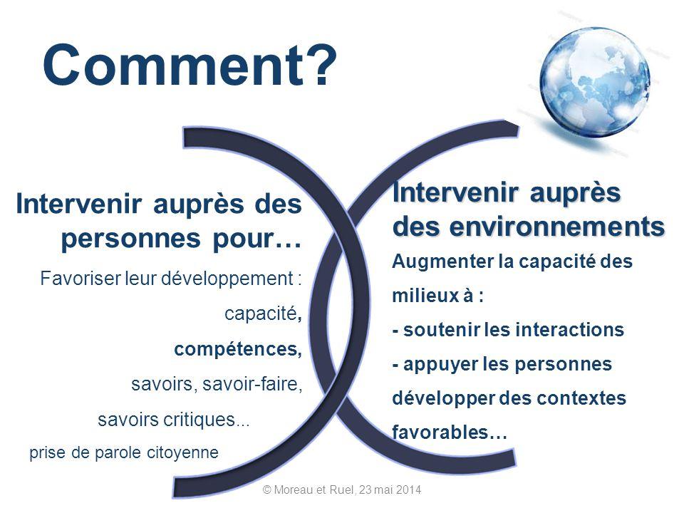 Comment? © Moreau et Ruel, 23 mai 2014 Intervenir auprès des personnes pour… Favoriser leur développement : capacité, compétences, savoirs, savoir-fai