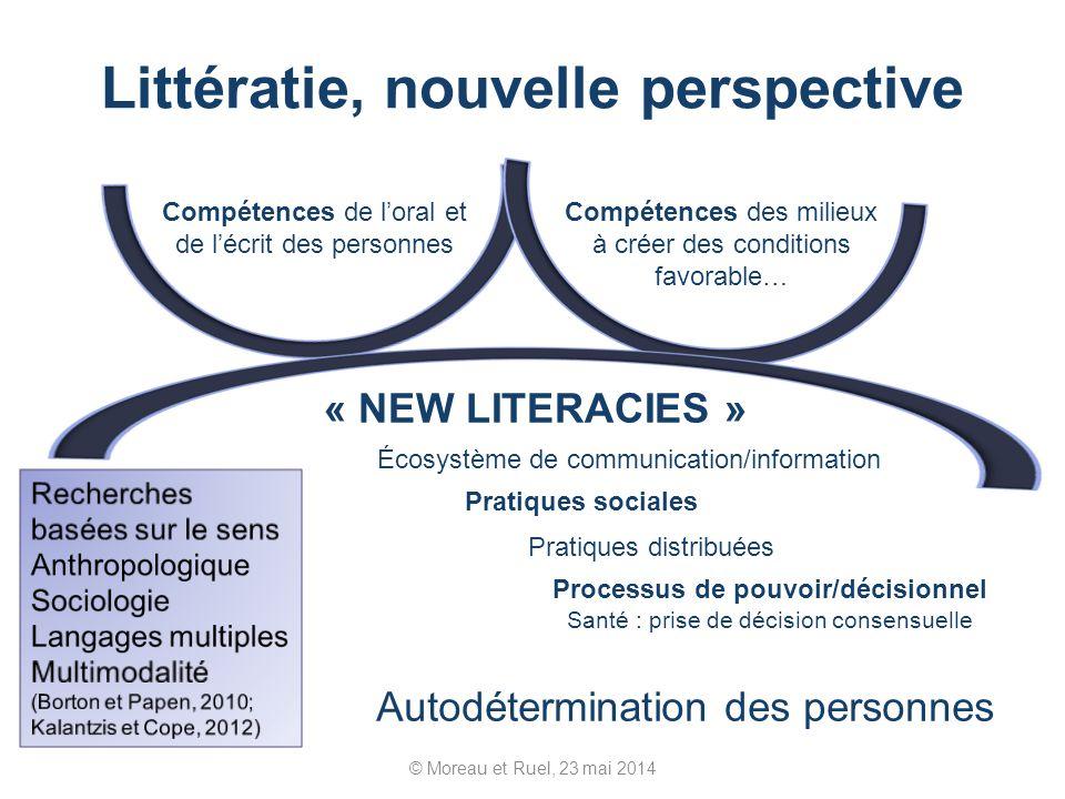 Littératie, nouvelle perspective © Moreau et Ruel, 23 mai 2014 Compétences de loral et de lécrit des personnes Compétences des milieux à créer des con