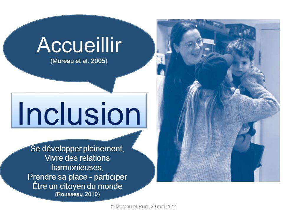 Inclusion © Moreau et Ruel, 23 mai 2014 Accueillir (Moreau et al. 2005) Se développer pleinement, Vivre des relations harmonieuses, Prendre sa place -