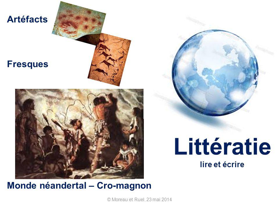 © Moreau et Ruel, 23 mai 2014 Littératie lire et écrire Monde néandertal – Cro-magnon Artéfacts Fresques