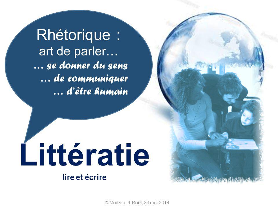 © Moreau et Ruel, 23 mai 2014 Littératie lire et écrire Rhétorique : art de parler… … se donner du sens … de communiquer … dêtre humain