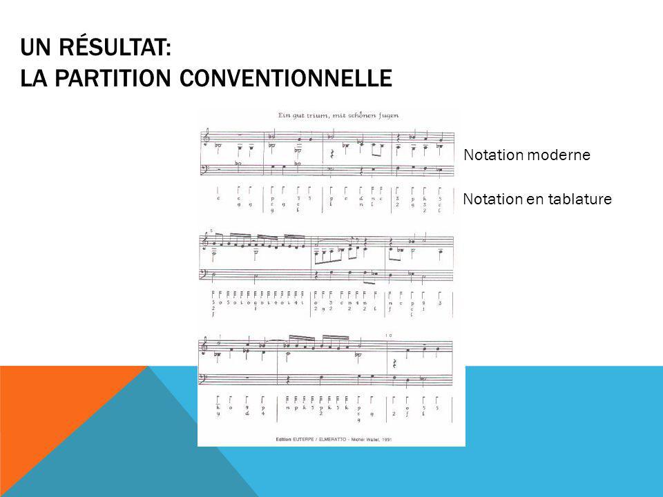 UN RÉSULTAT: LA PARTITION CONVENTIONNELLE Notation moderne Notation en tablature
