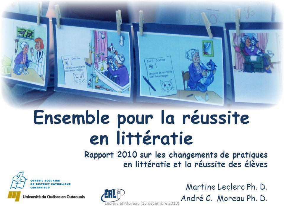 Rapport 2010 sur les changements de pratiques en littératie et la réussite des élèves Martine Leclerc Ph.