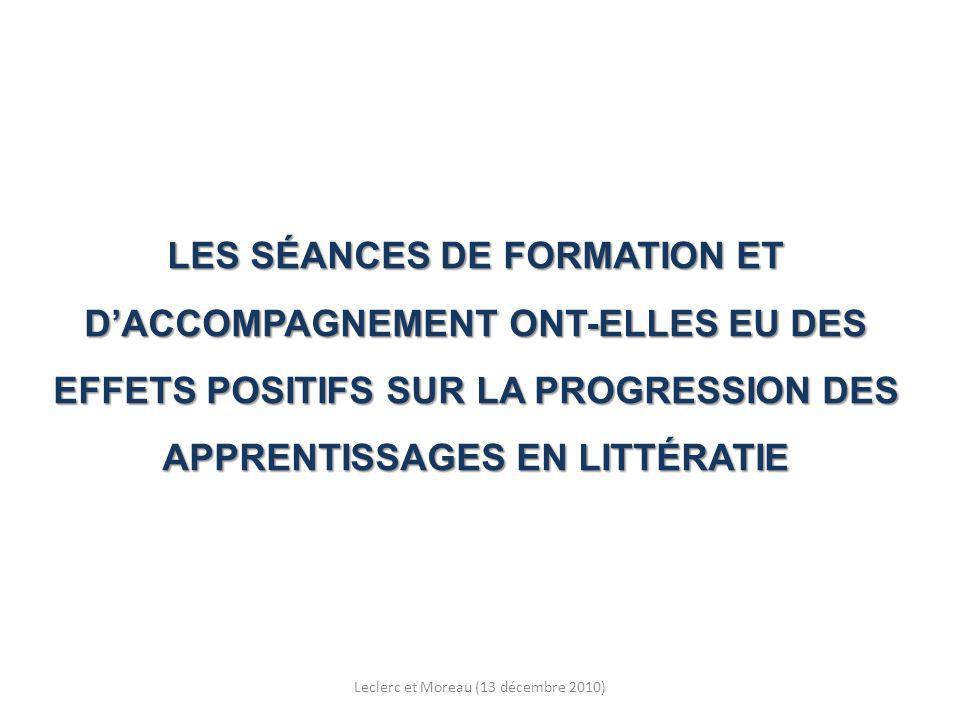 LES SÉANCES DE FORMATION ET DACCOMPAGNEMENT ONT-ELLES EU DES EFFETS POSITIFS SUR LA PROGRESSION DES APPRENTISSAGES EN LITTÉRATIE Leclerc et Moreau (13 décembre 2010)