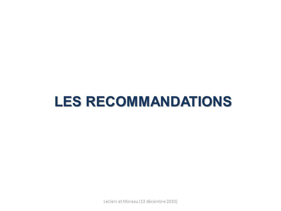 LES RECOMMANDATIONS Leclerc et Moreau (13 décembre 2010)