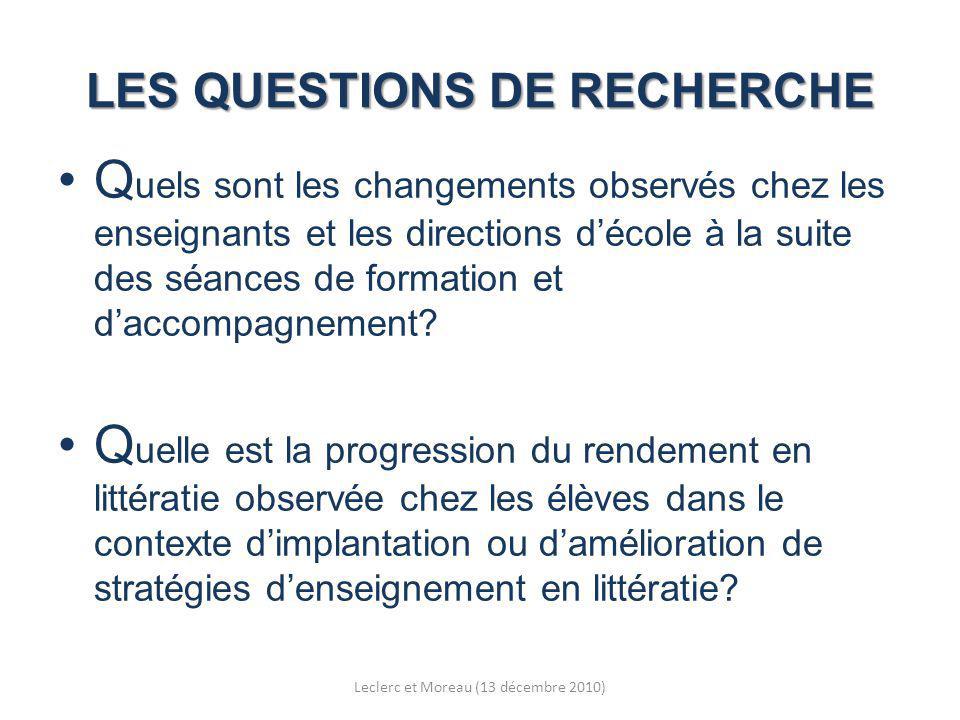 LES QUESTIONS DE RECHERCHE Q uels sont les changements observés chez les enseignants et les directions décole à la suite des séances de formation et daccompagnement.