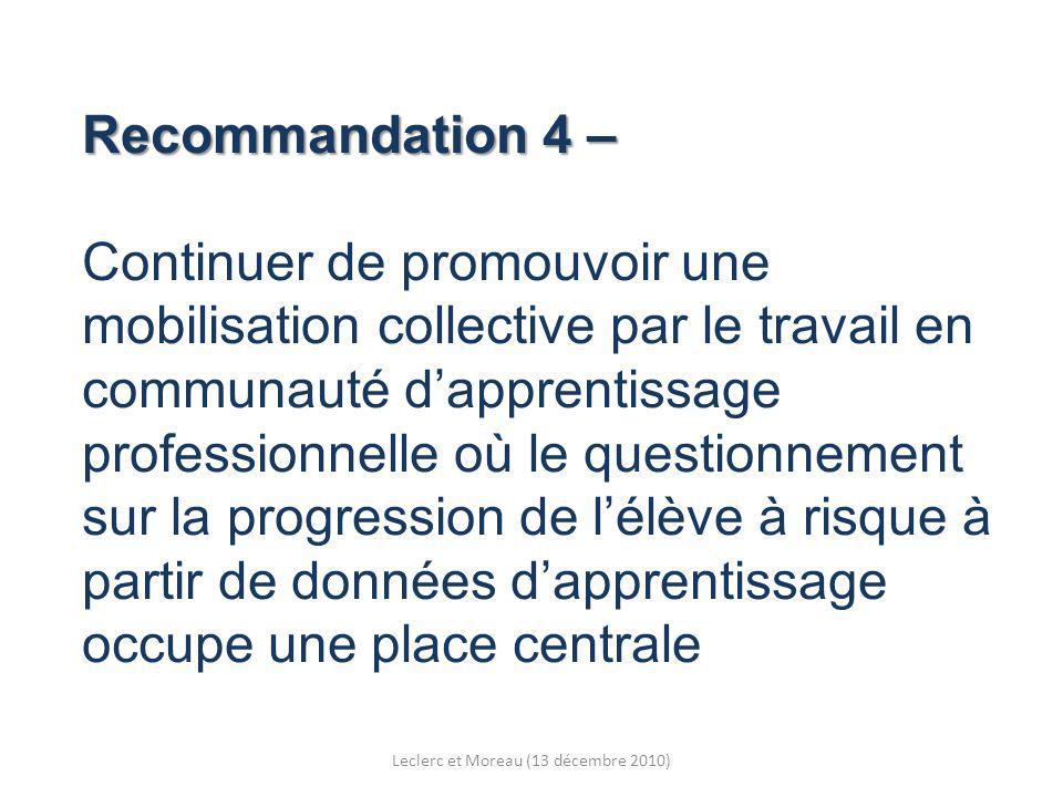 Recommandation 4 – Recommandation 4 – Continuer de promouvoir une mobilisation collective par le travail en communauté dapprentissage professionnelle où le questionnement sur la progression de lélève à risque à partir de données dapprentissage occupe une place centrale Leclerc et Moreau (13 décembre 2010)