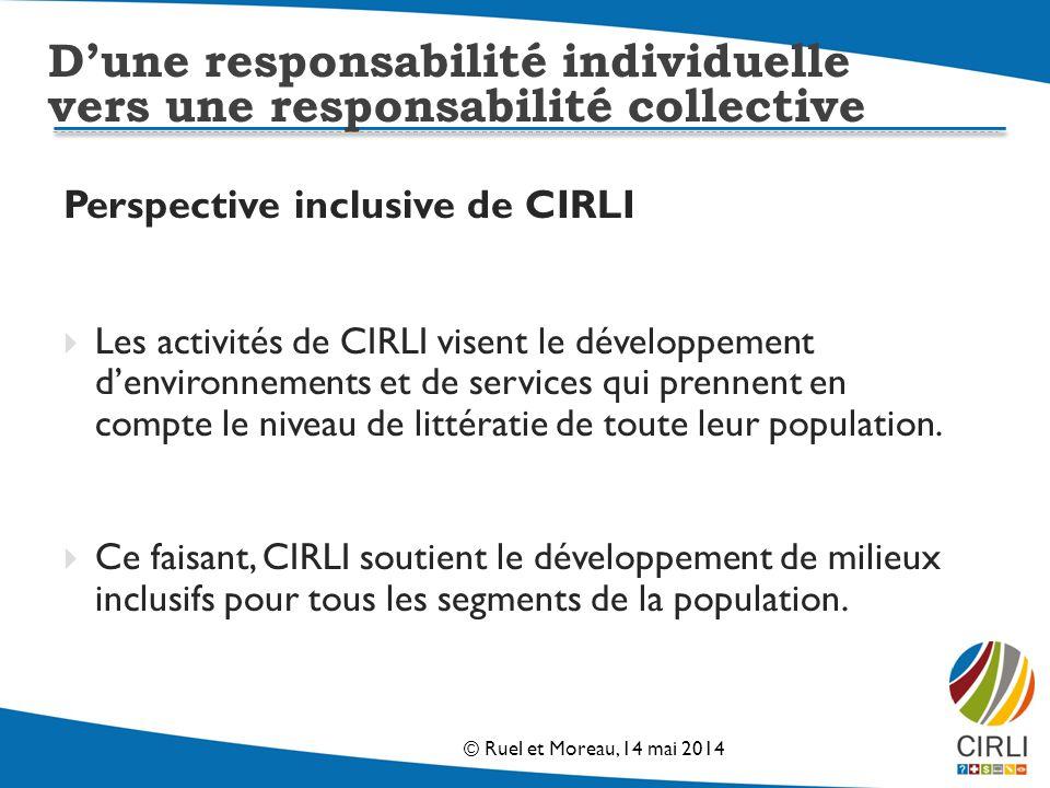 Perspective inclusive de CIRLI Les activités de CIRLI visent le développement denvironnements et de services qui prennent en compte le niveau de littératie de toute leur population.